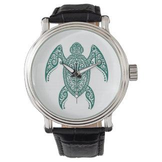 複雑なティール(緑がかった色)の白の青いウミガメ 腕時計