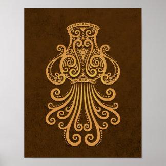 複雑なブラウンのアクエリアスの(占星術の)十二宮図 ポスター