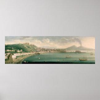 西からのナポリ、1730年の眺め ポスター