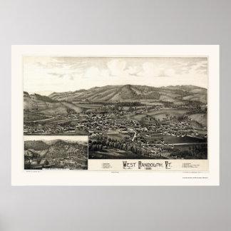 西のランドルフのVTのパノラマ式の地図- 1886年 ポスター