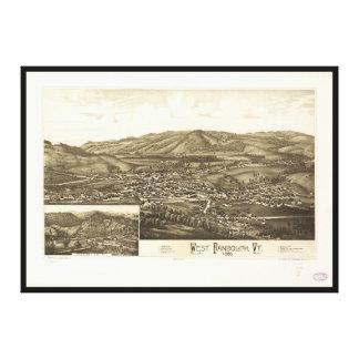 西のランドルフ、ヴァーモント(1886年)の空中写真 キャンバスプリント