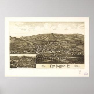西のランドルフ、ヴァーモント(1886年)の空中写真 ポスター