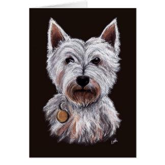 西の高地テリア犬のパステルのイラストレーション グリーティングカード