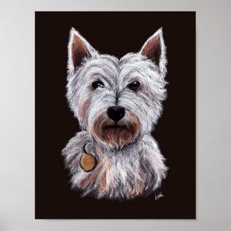 西の高地テリア犬のパステルのイラストレーション ポスター