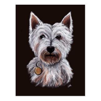 西の高地テリア犬のパステルのイラストレーション ポストカード