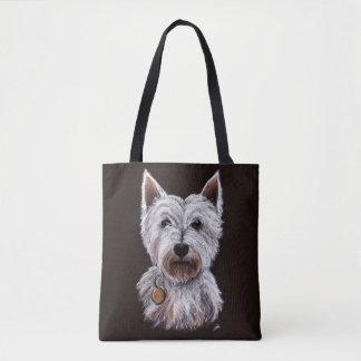 西の高地テリア犬のパステルの絵 トートバッグ