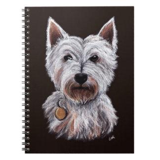 西の高地テリア犬パステル調ペット絵 ノートブック