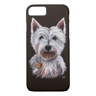 西の高地テリア犬パステル調ペット絵 iPhone 7ケース