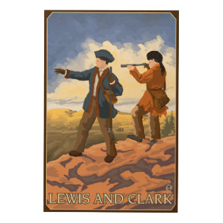 西を探検しているルイスおよびクラーク ウッドウォールアート