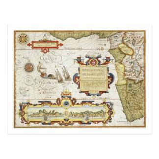 西アフリカの海岸線1596年の地図(着色される手 ポストカード