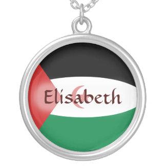 西サハラの旗 + 一流のネックレス シルバープレートネックレス