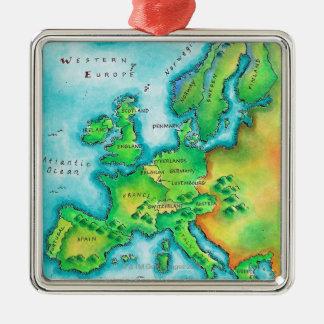 西ヨーロッパの地図 メタルオーナメント