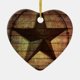西欧諸国の初期のな納屋の木製のテキサス州星 セラミックオーナメント