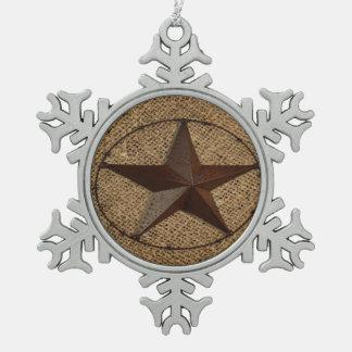西欧諸国の素朴なバーラップの初期のなテキサス州星 スノーフレークピューターオーナメント