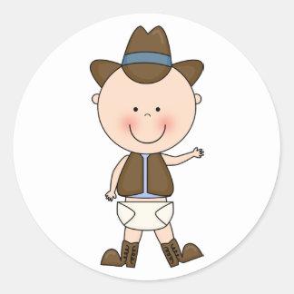 西部かわいい男の赤ちゃん及び馬の子馬のカスタム ラウンドシール