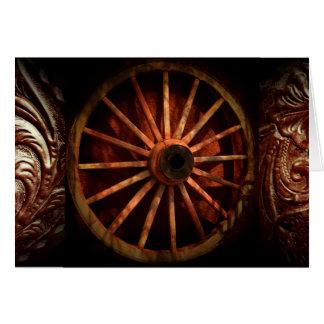 西部のカウボーイの荷馬車の車輪Notecards カード