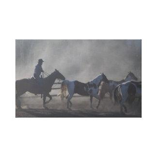 西部のカウボーイの馬 キャンバスプリント