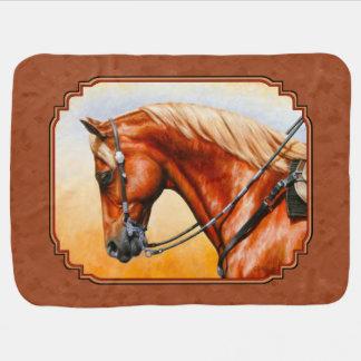 西部のクォーター馬素朴なブラウン ベビー ブランケット