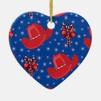 西部のクリスマスのカーボーイ・ハットおよびキャンディ・ケーン セラミックオーナメント