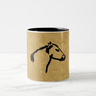 西部のスタイルの馬頭部のプロフィールのコーヒーカップのマグ ツートーンマグカップ