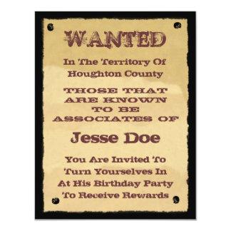 西部のテーマのパーティーへの望まれたポスター招待状 カード