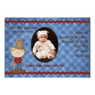 西部のテーマの男の赤ちゃんの誕生の発表 8.9 X 12.7 インビテーションカード