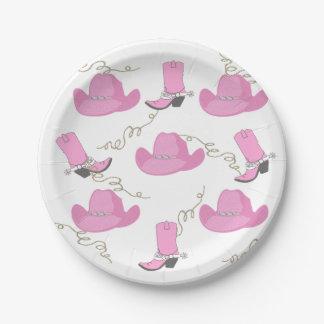 西部のピンクのカウボーイ・ブーツおよび帽子の女性のカーボーイのパーティ ペーパープレート
