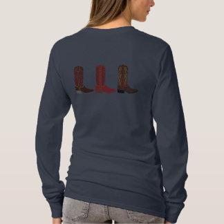 西部のブーツの女性のL/SのTシャツ Tシャツ