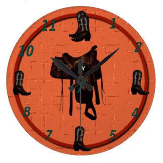 西部のブーツ及びサドルの時計2 ラージ壁時計