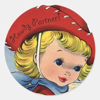 西部のレトロのLilの女性のカーボーイのやあおもしろいのステッカー ラウンドシール