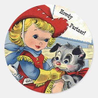 西部のレトロのLilの女性のカーボーイの小犬のおもしろいのステッカー ラウンドシール