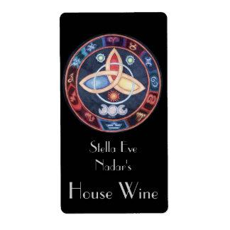 西部の占星術の車輪のワインのラベル(上) ラベル