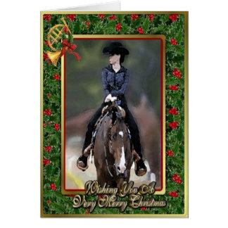 西部の喜びのクォーター馬のクリスマスカード カード