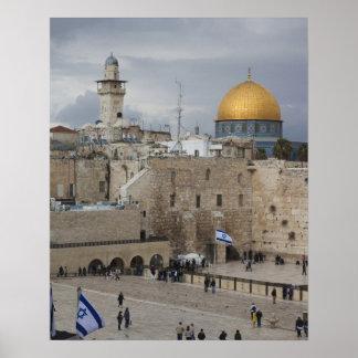 西部の壁の広場の眺め、夕方 ポスター