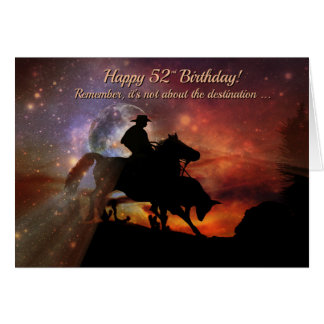 西部の幸せな第52誕生日のカウボーイおよび雄牛 カード
