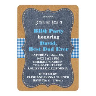 西部の最も最高のなパパのデニムBBQのパーティのカスタム 12.7 X 17.8 インビテーションカード