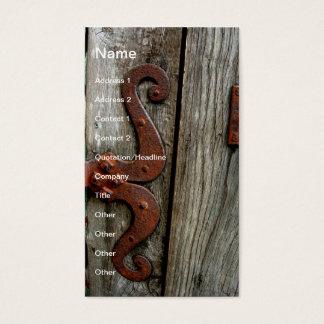 西部の木製の穀物の古い蝶番の名刺の芸術 名刺