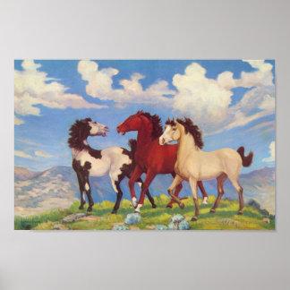 西部の牧牛用ポニー ポスター
