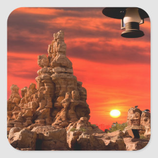 西部の砂漠のステッカー スクエアシール