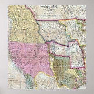西部の米国(1846年)のヴィンテージの地図 ポスター