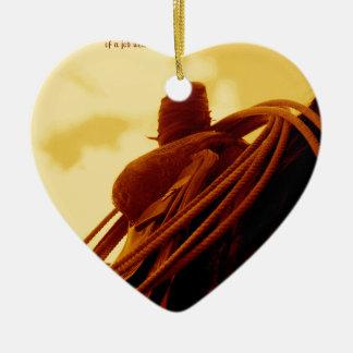 西部の素朴なロープをかけるサドルの芸術 セラミックオーナメント