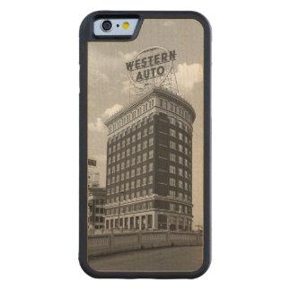 西部の自動半分シリンダータワーのiPhone6ケース CarvedメープルiPhone 6バンパーケース