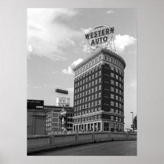 西部の自動半分シリンダー建物 ポスター