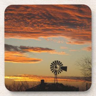 西部の風車の日没 コースター