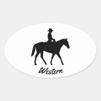 西部の馬 楕円形シール