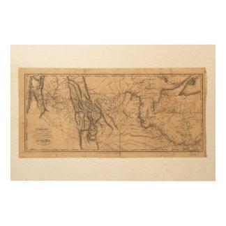 西部アメリカ1814年を渡るルイス及びクラークの地図 ウッドウォールアート