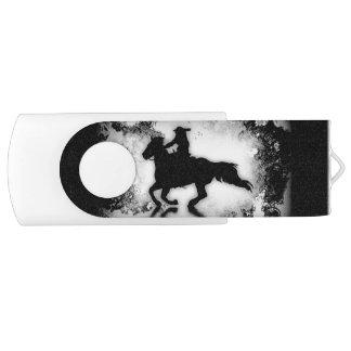 西部スタイルの疾走する馬およびライダー USBフラッシュドライブ