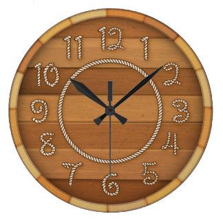 西部ロープの時間木製のビヤ樽 ラージ壁時計