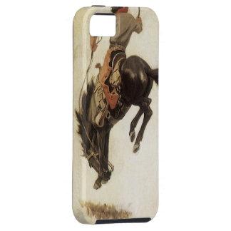 西部ヴィンテージ強く反対するブロンコの馬のカウボーイ iPhone SE/5/5s ケース