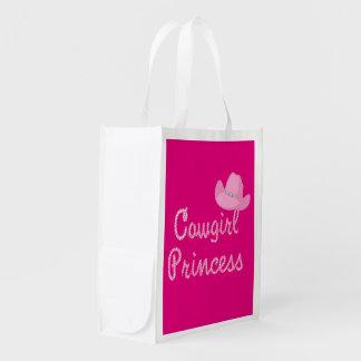 西部女性のカーボーイのプリンセスおよびピンクのカーボーイ・ハット エコバッグ